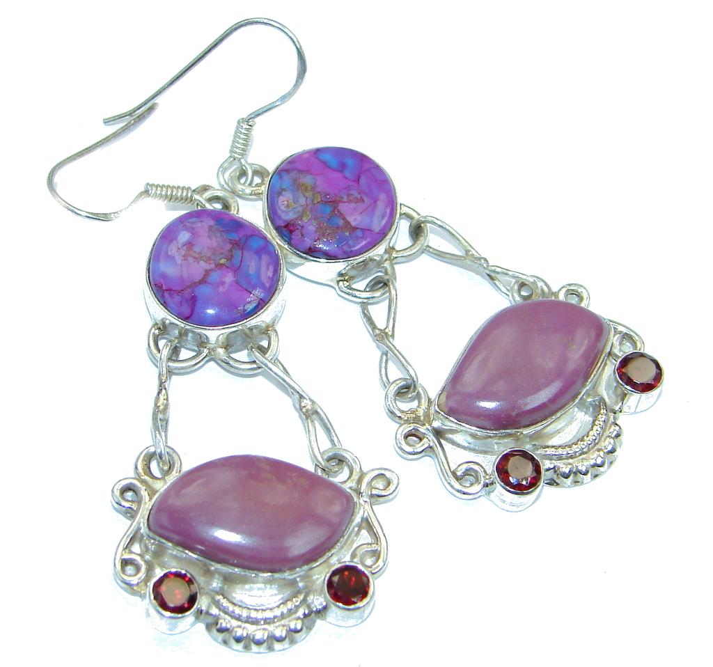 Perfect Natural Sugalite Amethyst Sterling Silver handmade earrings
