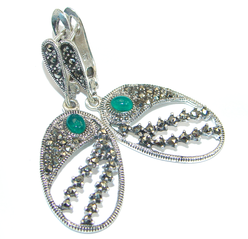 Romantic Genuine Agate Marcasite Sterling Silver handmade Earrings