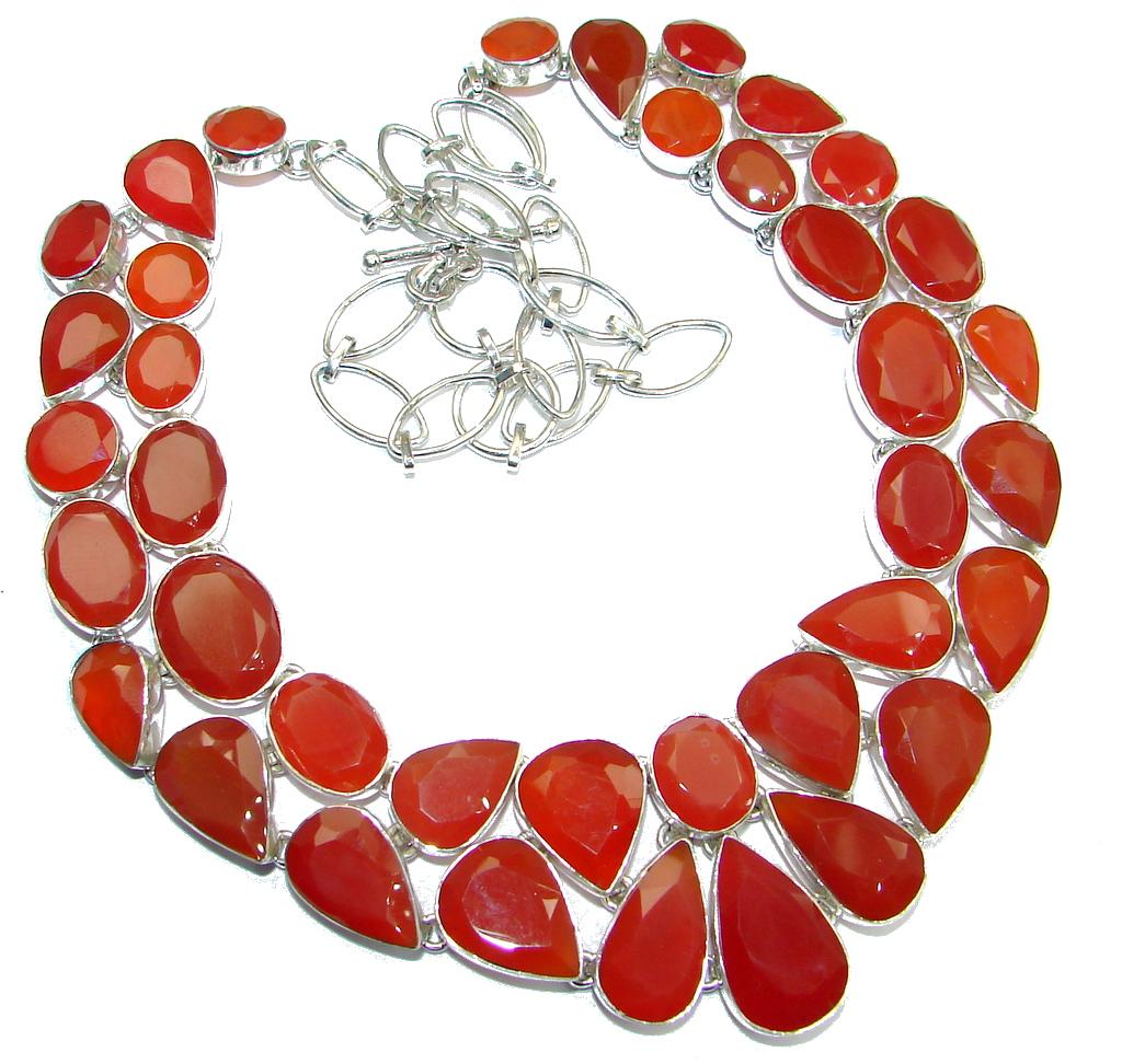 Sunset Beauty Jumbo Bold Carnelian Sterling Silver handmade Necklace
