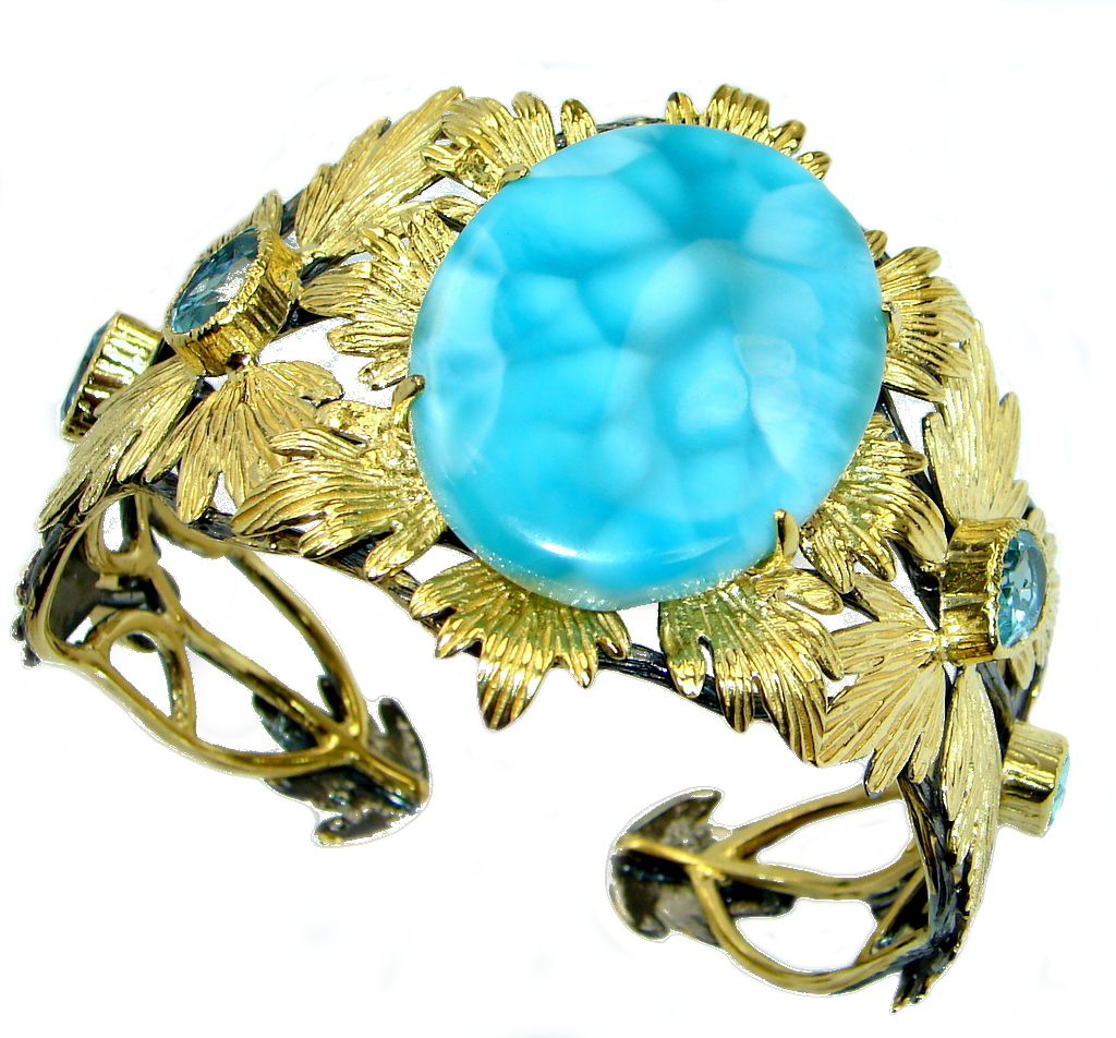 Baroque Genuine Blue Larimar 18 ct Rose Gold Rhodium plated over Sterling Silver handmade Bracelet Cuff