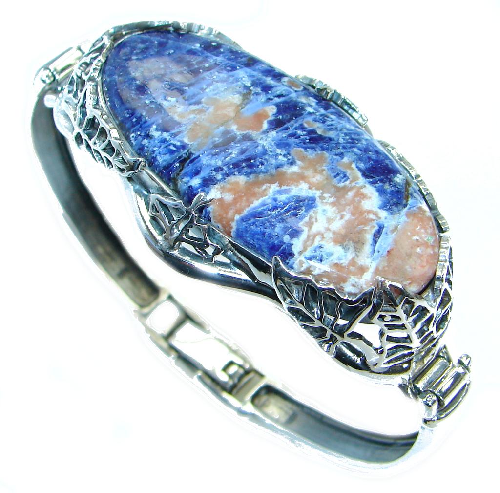 Huge Blue Galaxy genuine Sodalite   handcrafted .925 Sterling Silver Bracelet