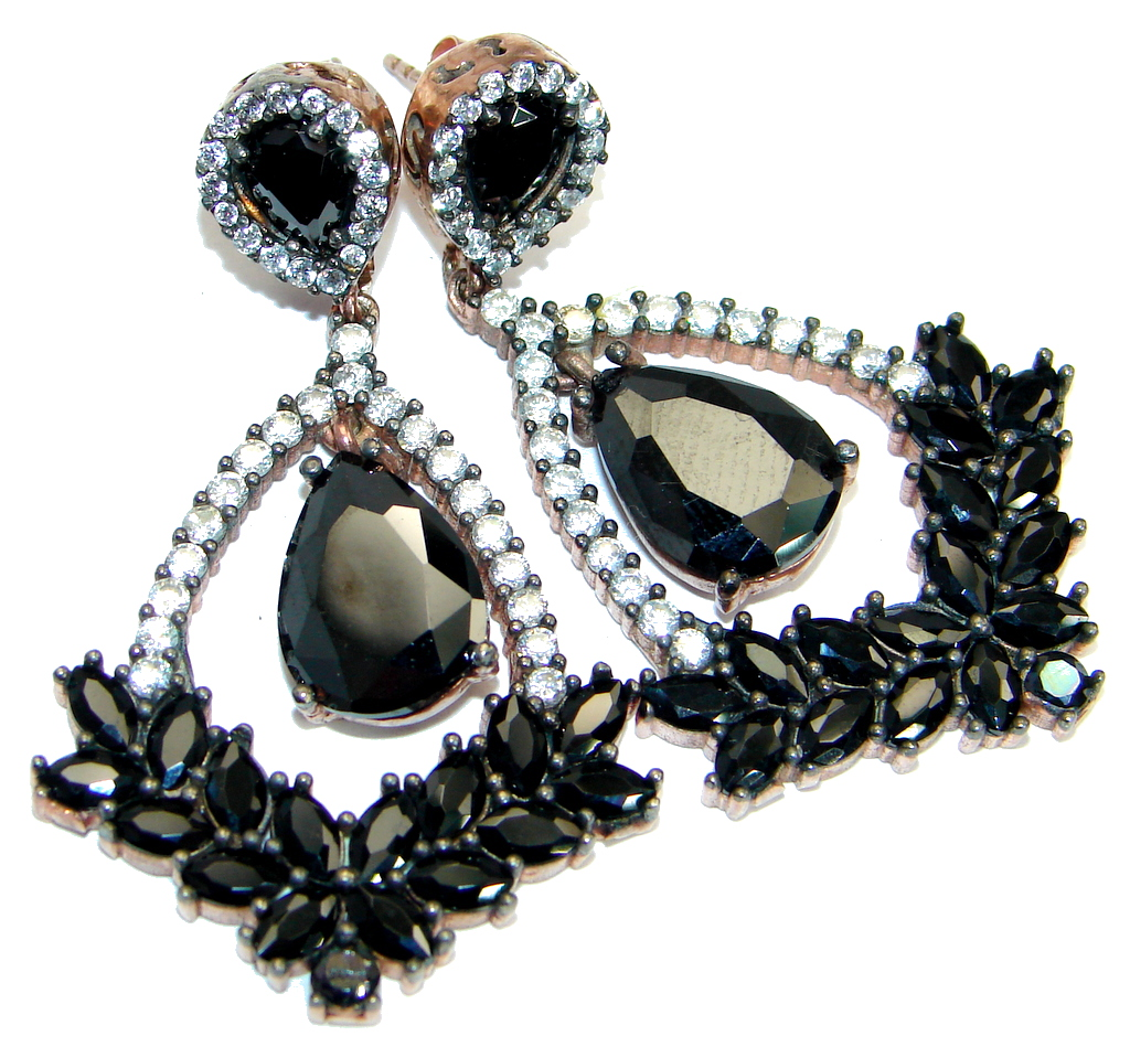 Large Victorian Style Onyx Ruby copper over .925 Sterling Silver Earrings