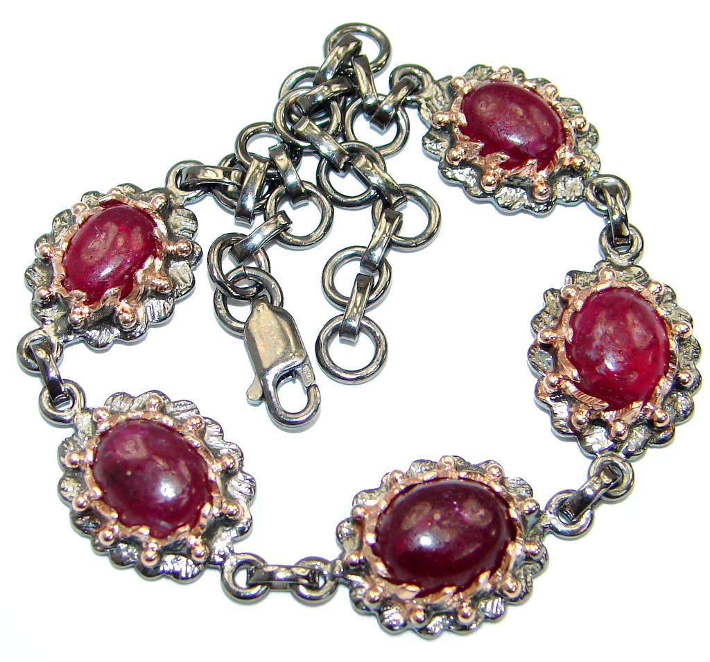 Genuine  Ruby Rose Gold over .925 Sterling Silver handcrafted Bracelet