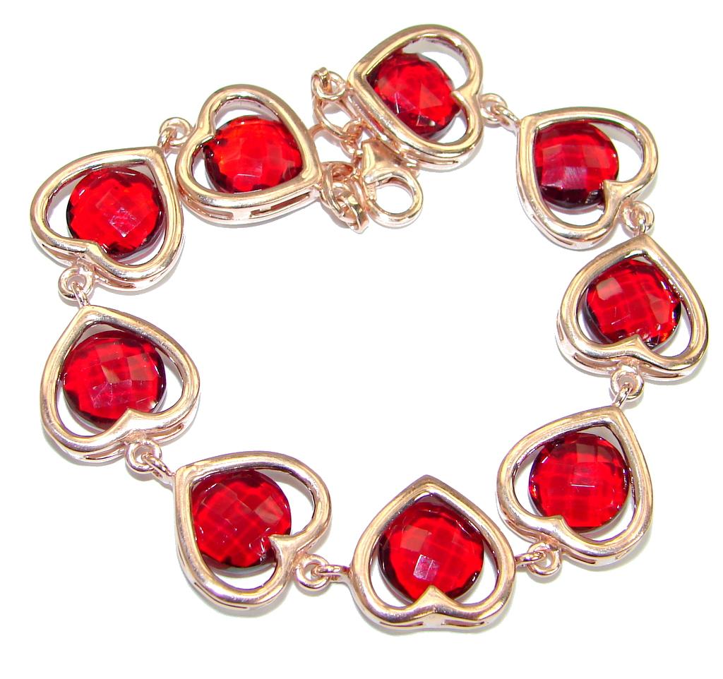 Chic Red Topaz Rose Gold  .925 Sterling Silver handmade Bracelet