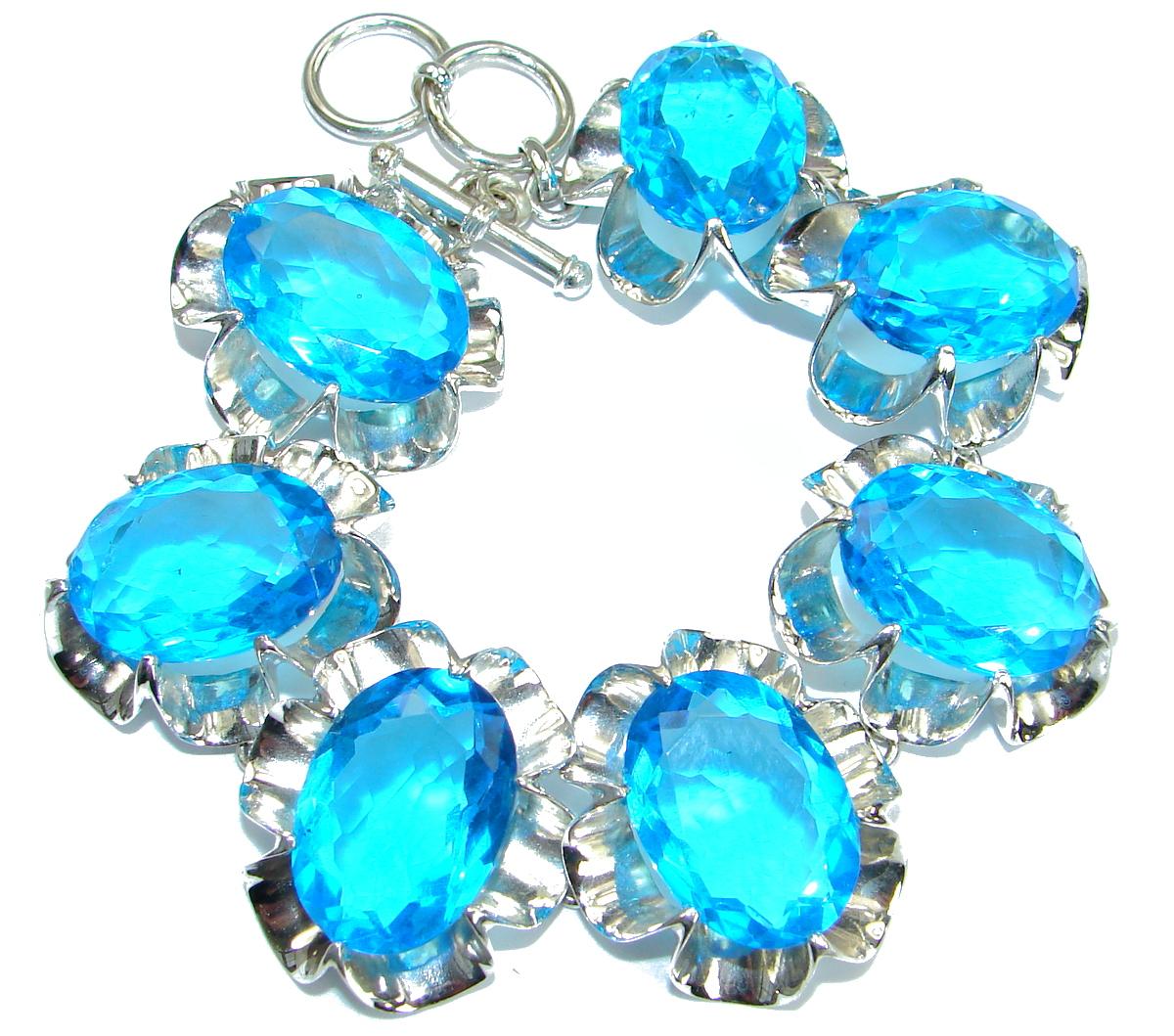 Huge  Rich Blue  Ocean Quartz   .925  Sterling Silver handmade Bracelet