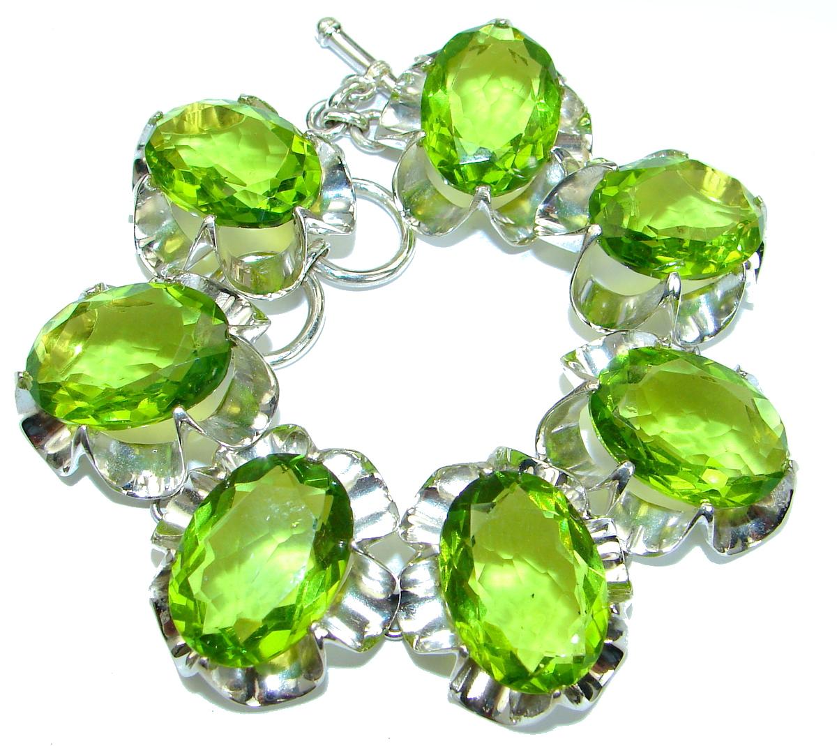 Huge  Rich Green   Ocean Quartz   .925  Sterling Silver handmade Bracelet