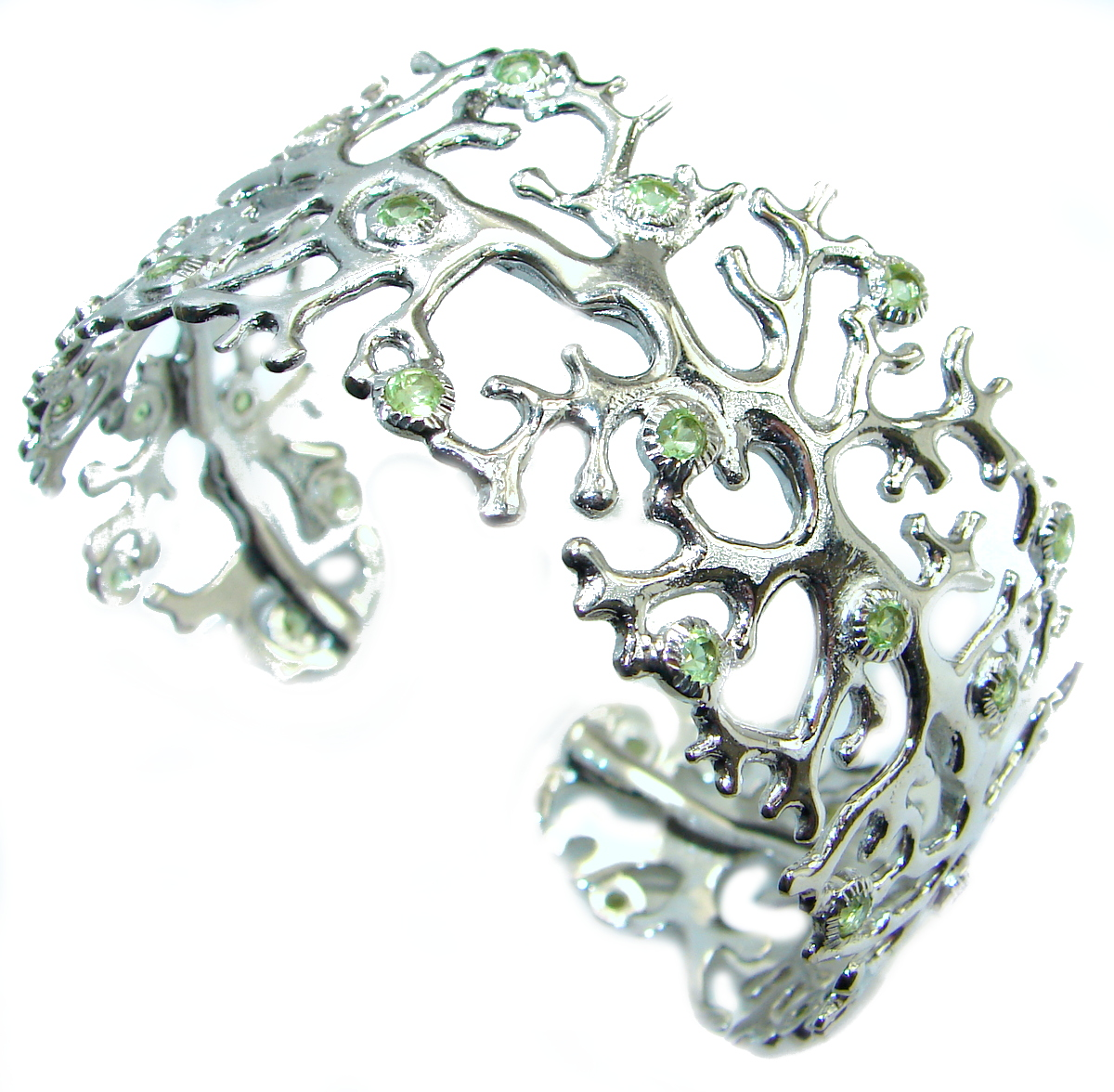 Chunky authentic Peridot .925 Sterling Silver handcrafted Bracelet / Cuff