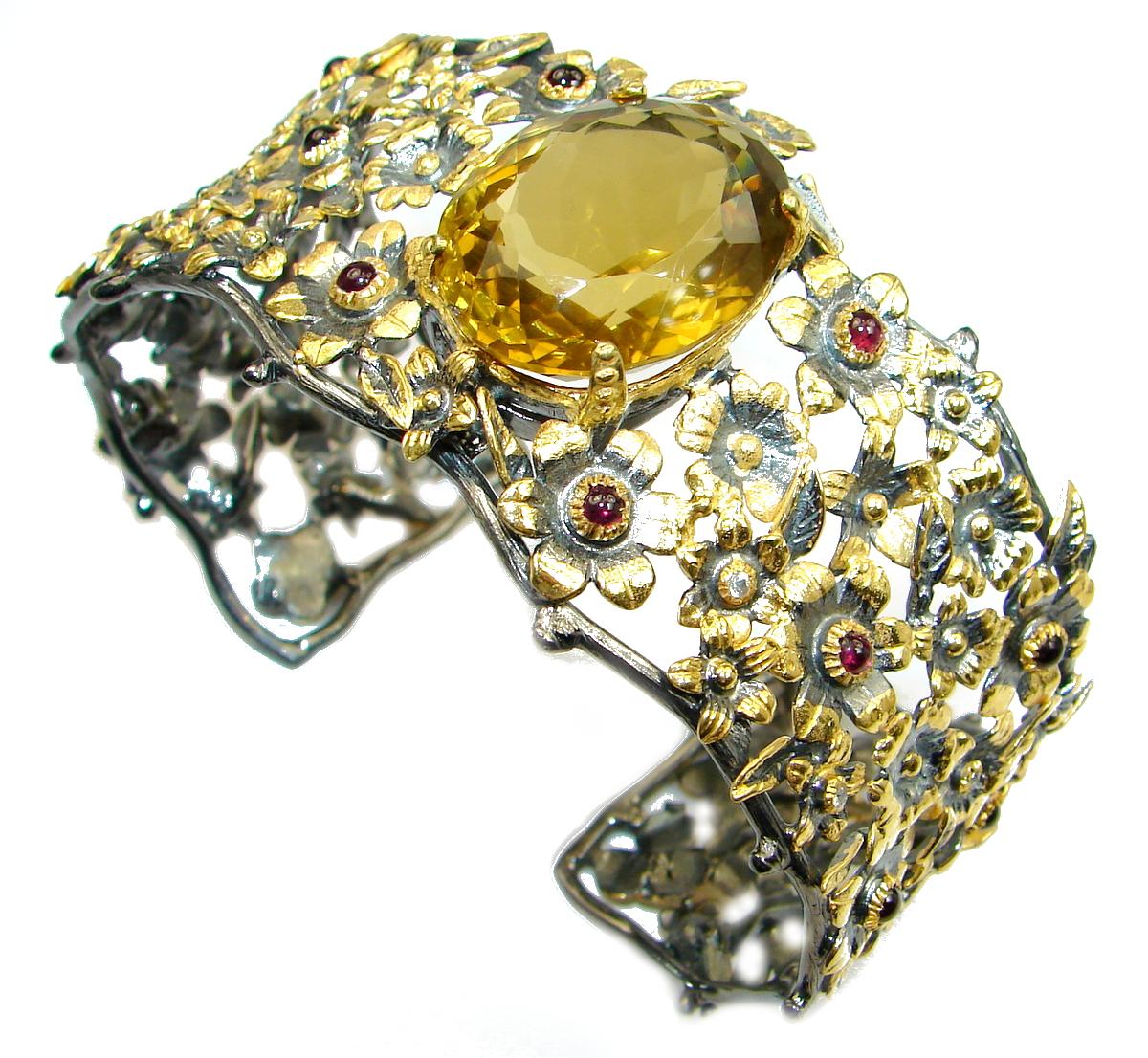 Chunky Genuine  Citrine Rose Gold Rhodium  over .925 Sterling Silver Bracelet / Cuff