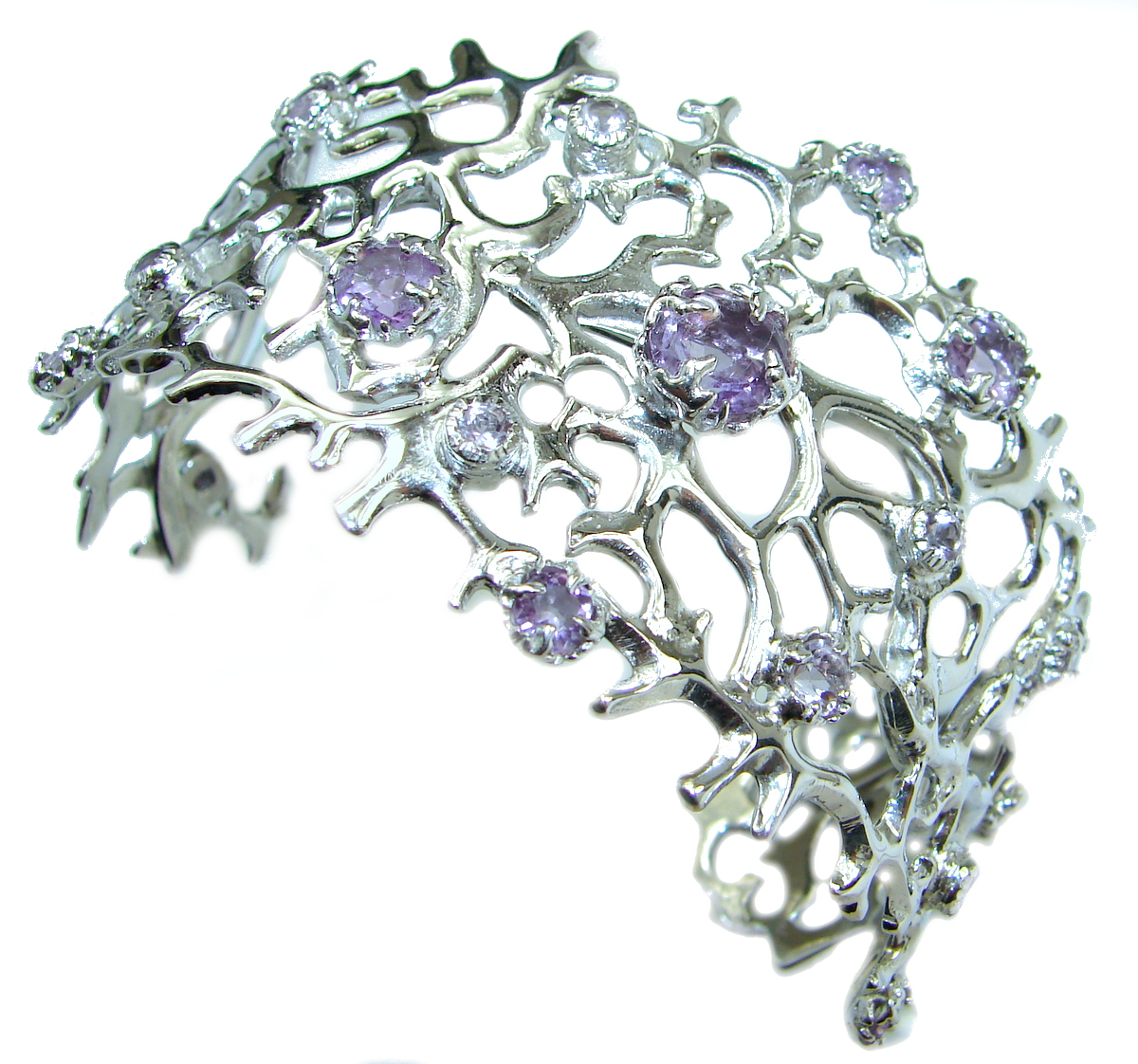 Chunky authentic Amethyst  .925 Sterling Silver handcrafted Bracelet / Cuff