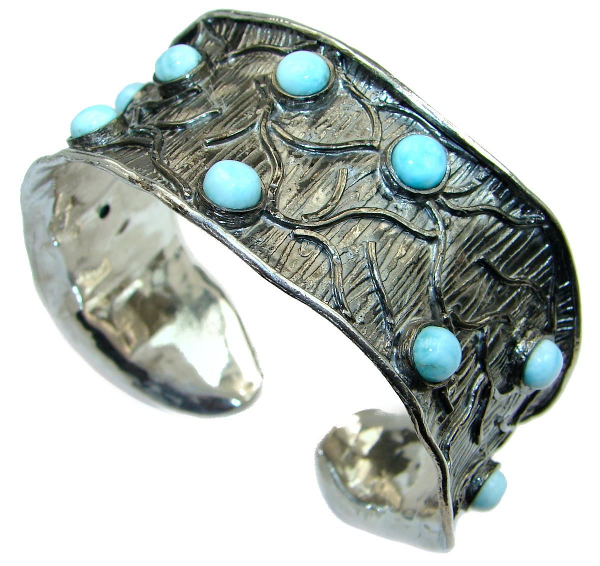 Genuine Blue Larimar Black Rhodium over .925 Sterling Silver handmade Bracelet Cuff