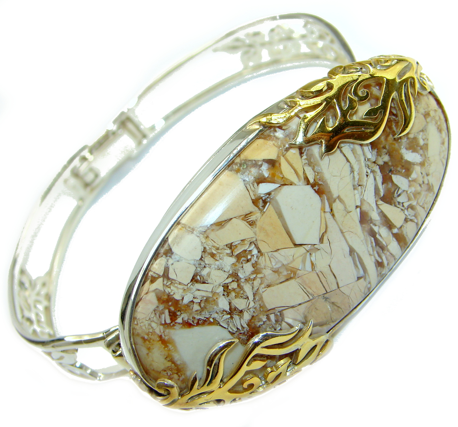 Genuine Australian Brecciated Mookaite  Gold over .925 Sterling Silver handcrafted Bracelet