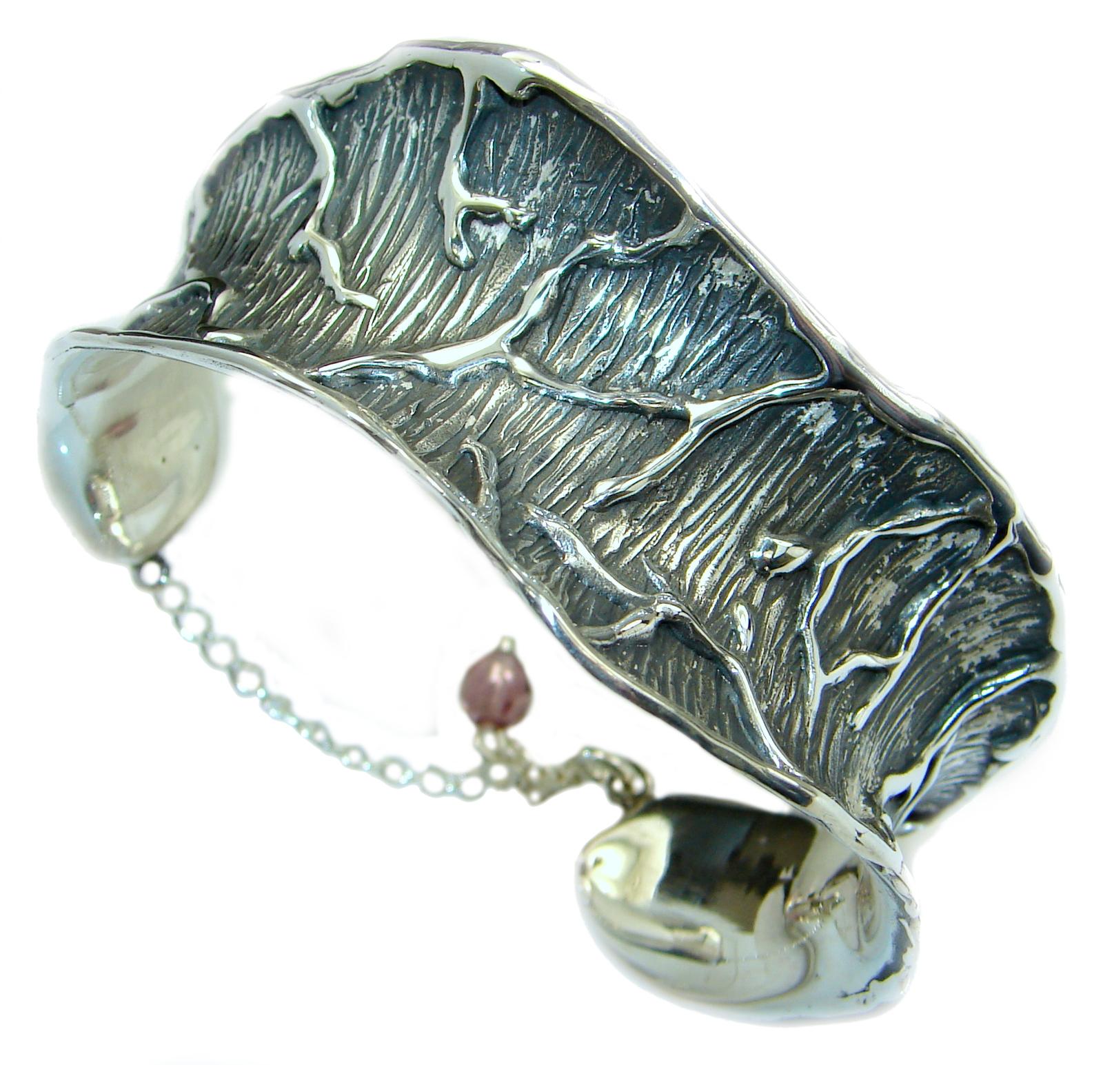 Green oxidized .925  Sterling Silver handmade Bracelet / Cuff