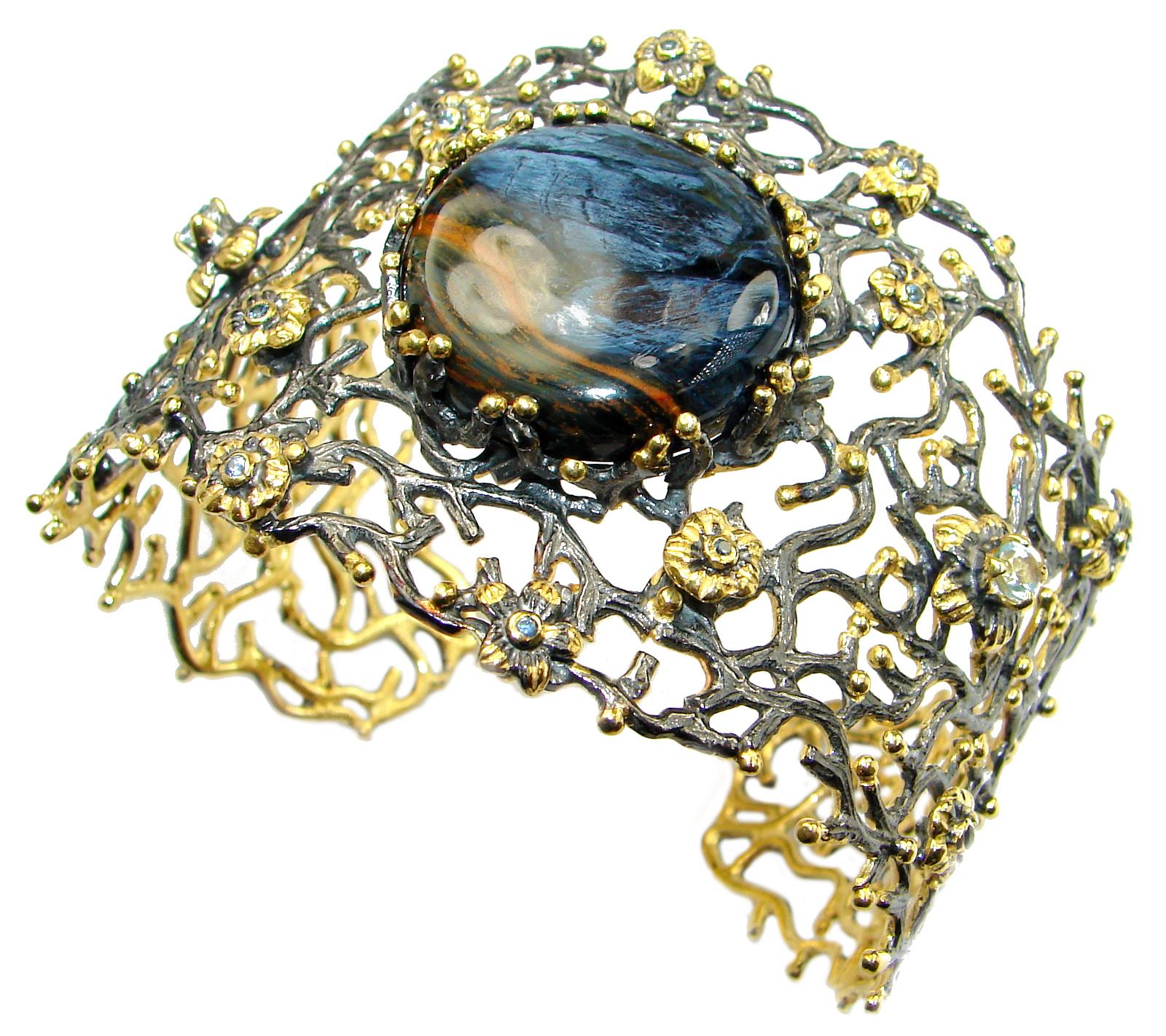 Genuine Golden Pietersite 14KGold plated .925 Sterling Silver handmade Bracelet Cuff