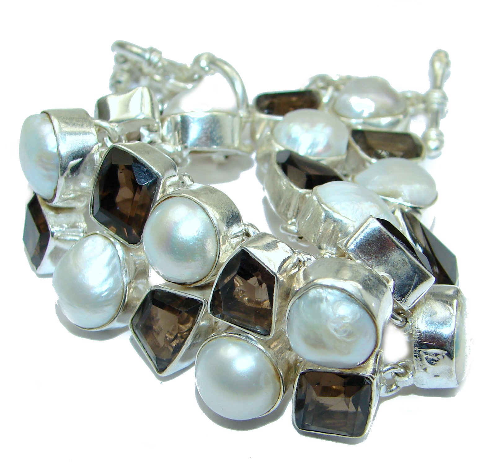Huge Amazing Mother Of Pearl .925 Sterling Silver  handmade Bracelet