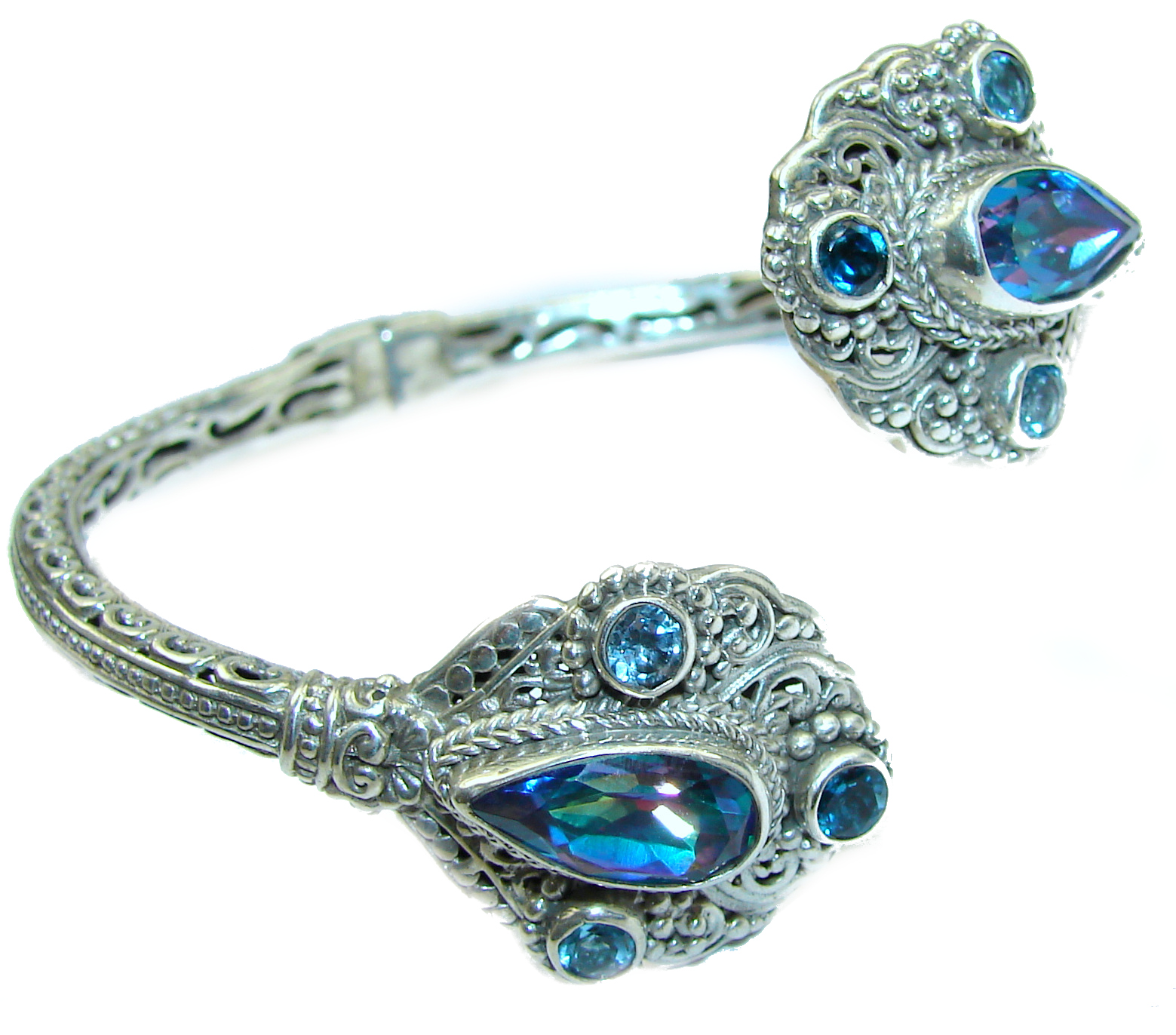 Chunky Luxury  Blue Magic Topaz .925 Sterling Silver handmade Cuff/Bracelet