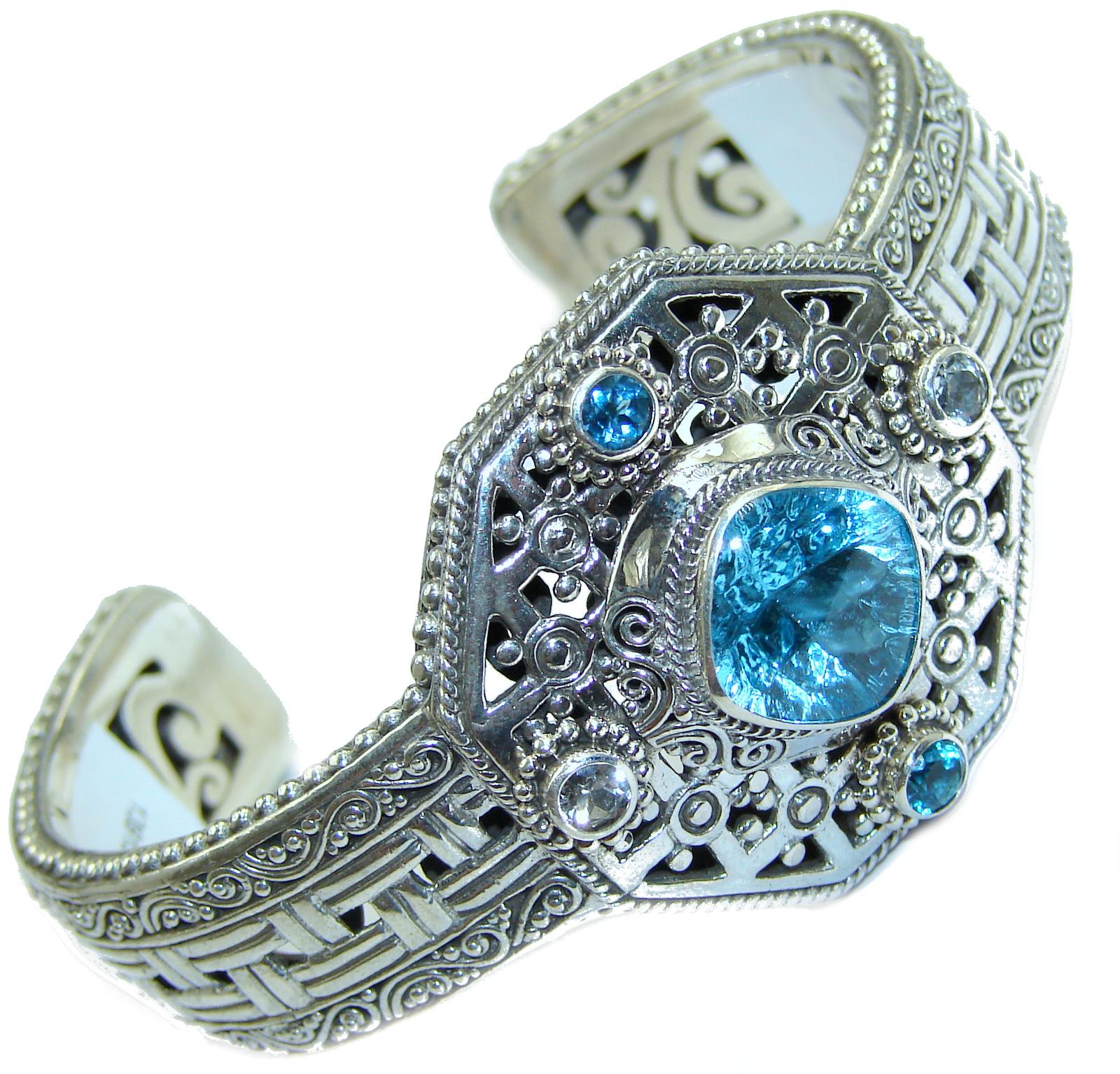 Chunky & Luxury Swiss Blue Topaz .925 Sterling Silver handmade Cuff/Bracelet