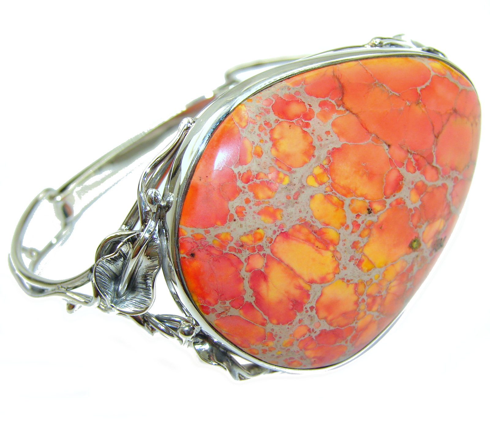 Chic Boho Style  Sea  Sediment Jasper .925 Sterling Silver handmade  Bracelet