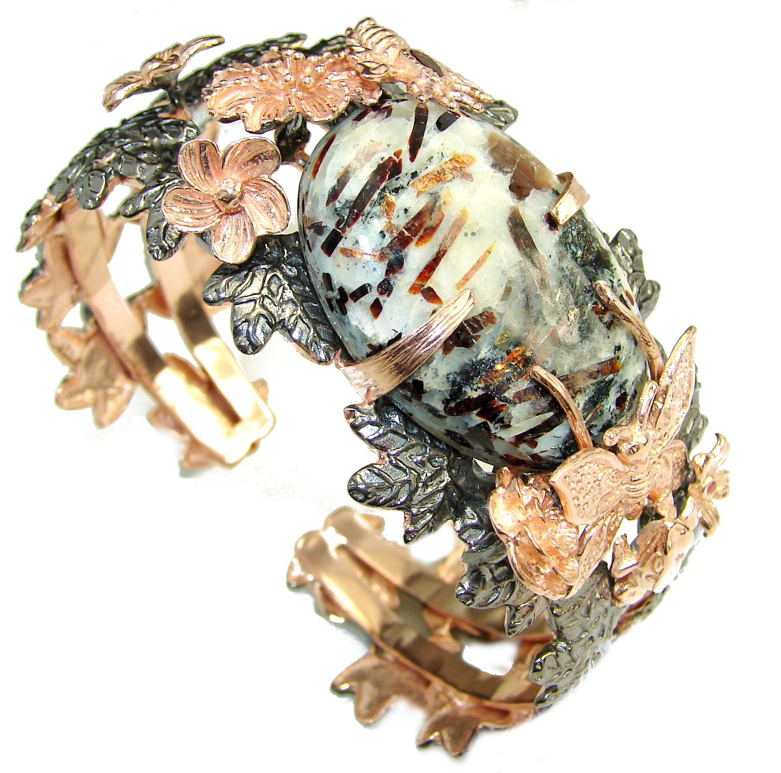 Golden Butterfly Chunky Astrophyllite   Gold Rhodium plated over Sterling Silver Bracelet / Cuff