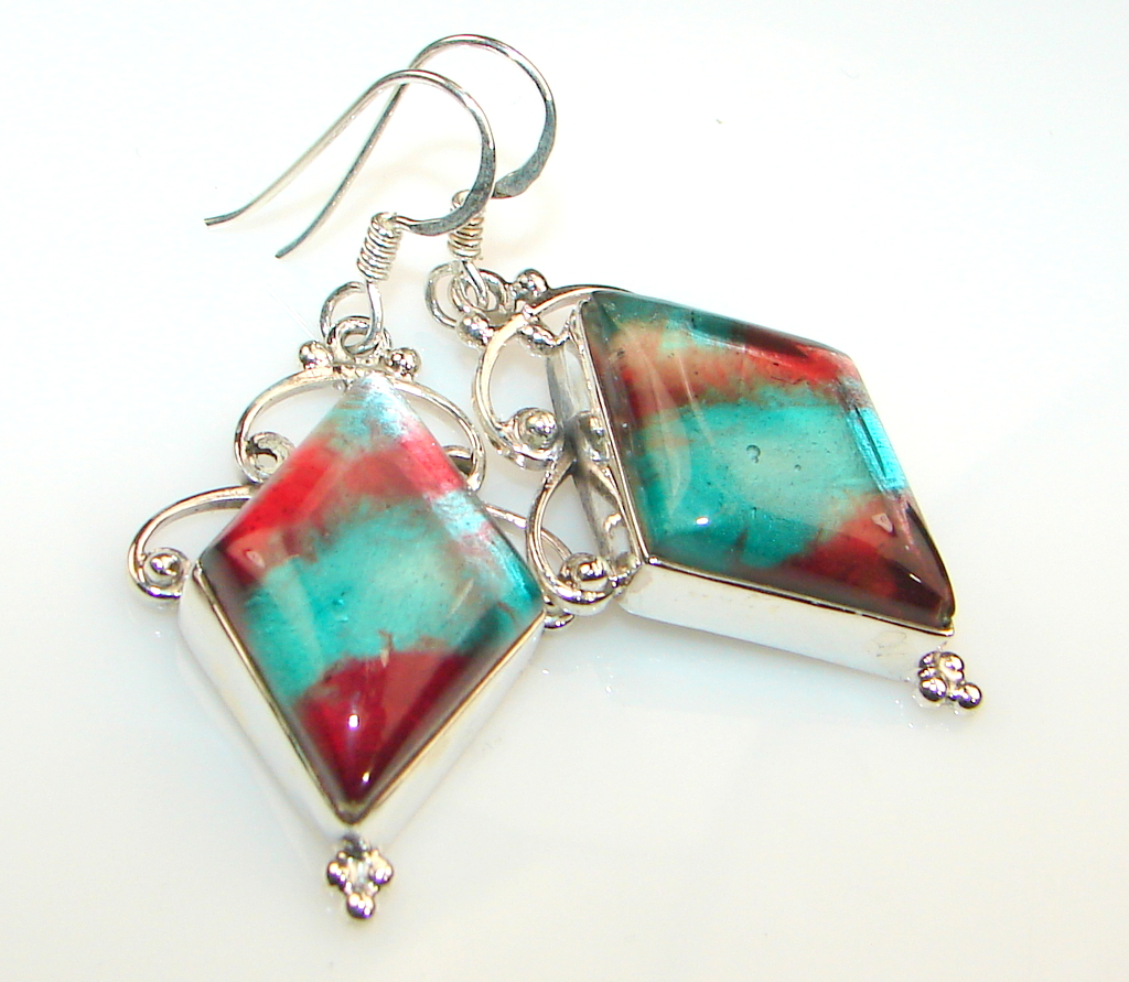 Fiesta Dichroic Glass Sterling Silver earrings
