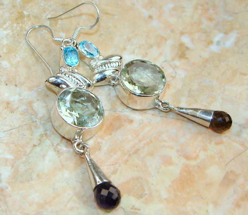 Deluxe! Green Topaz Sterling Silver Earrings