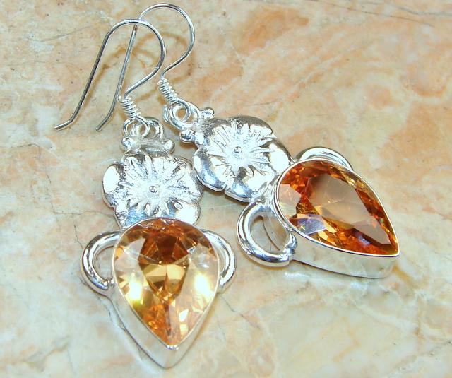Great Lab. Honey Topaz Sterling Silver Earrings