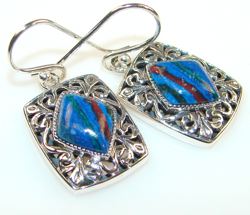 Fiesta Rainbow Calsilica Sterling Silver earrings