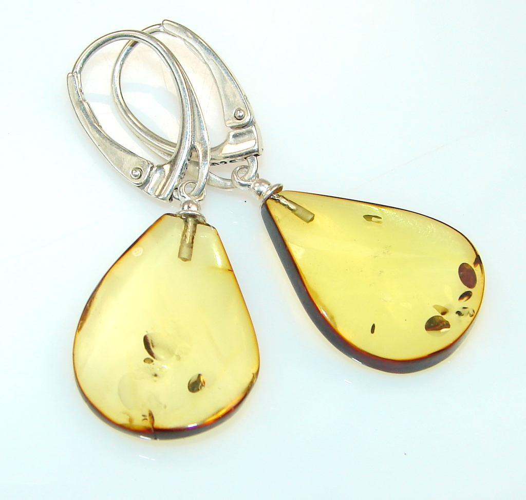 Excellent Quality Baltic Amber Sterling Silver earrings