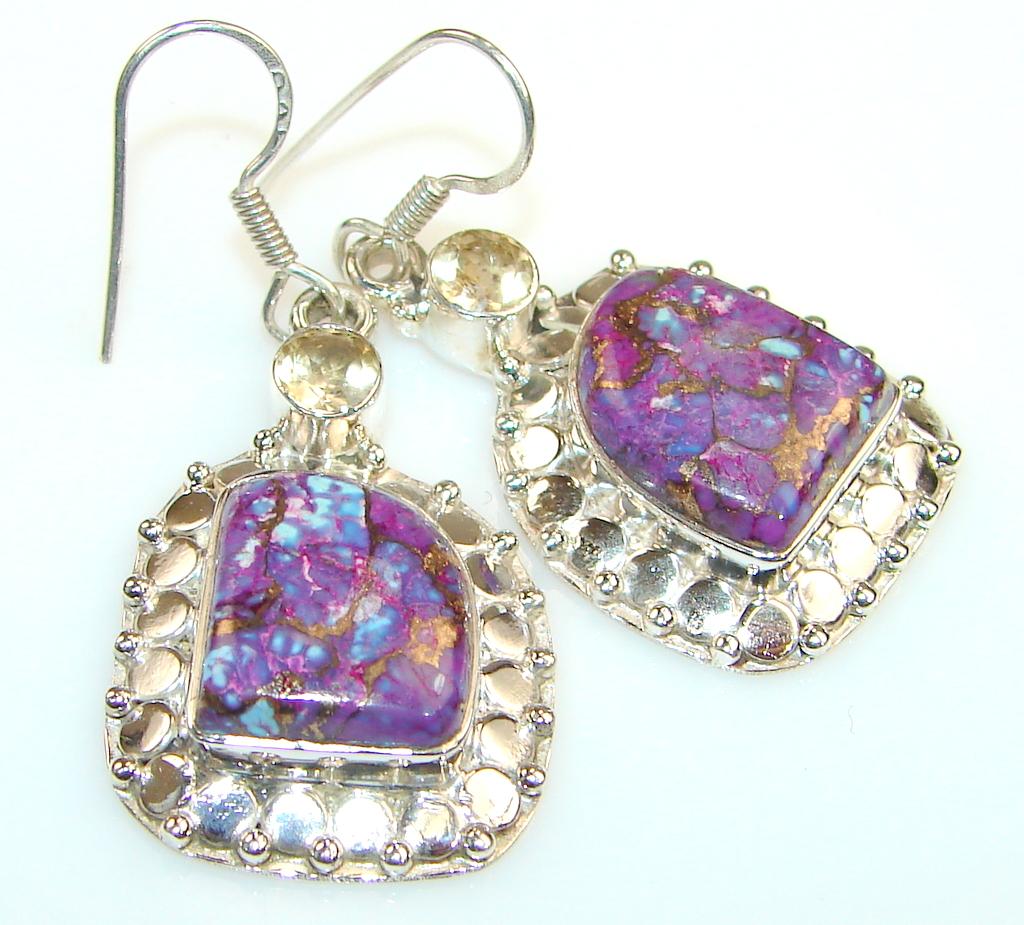 Copper Purple Turquoise Silver Sterling earrings