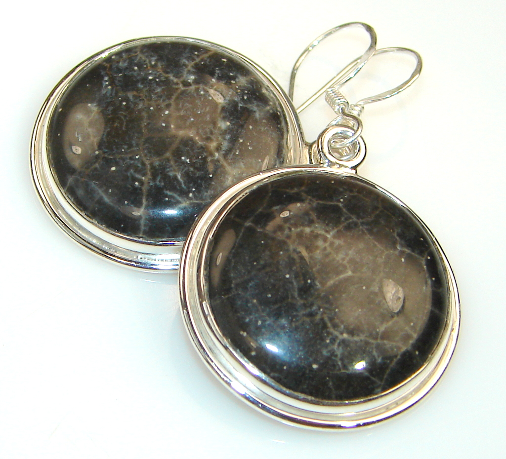 Black Song Fossiliozed Coral Sterling Silver earrings
