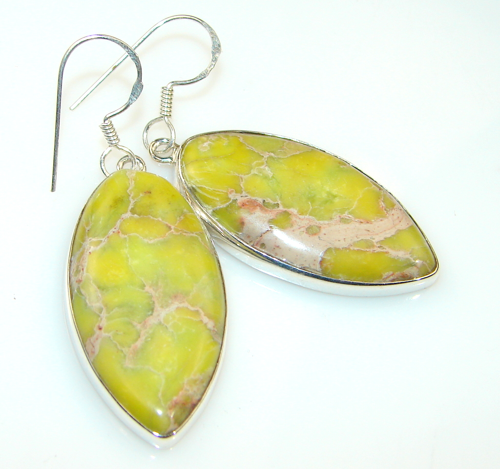 Bali Garden Sea Sediment Jasper Sterling Silver Earring