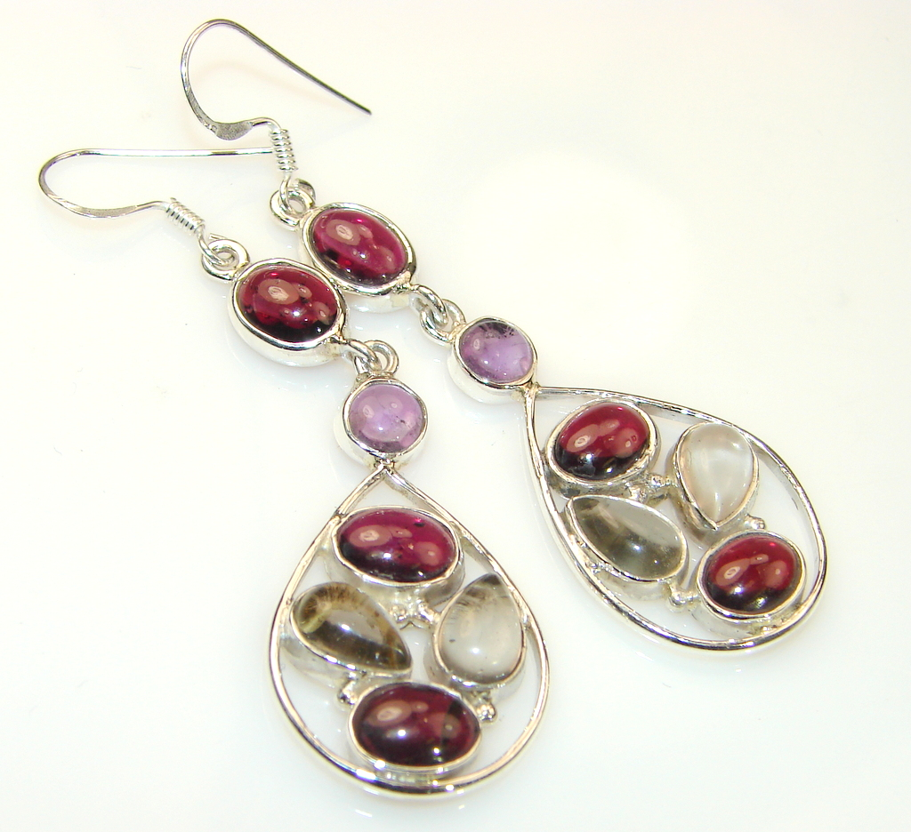 Artisan Crafted Genuine Tourmaline & Sterling Silver earrings