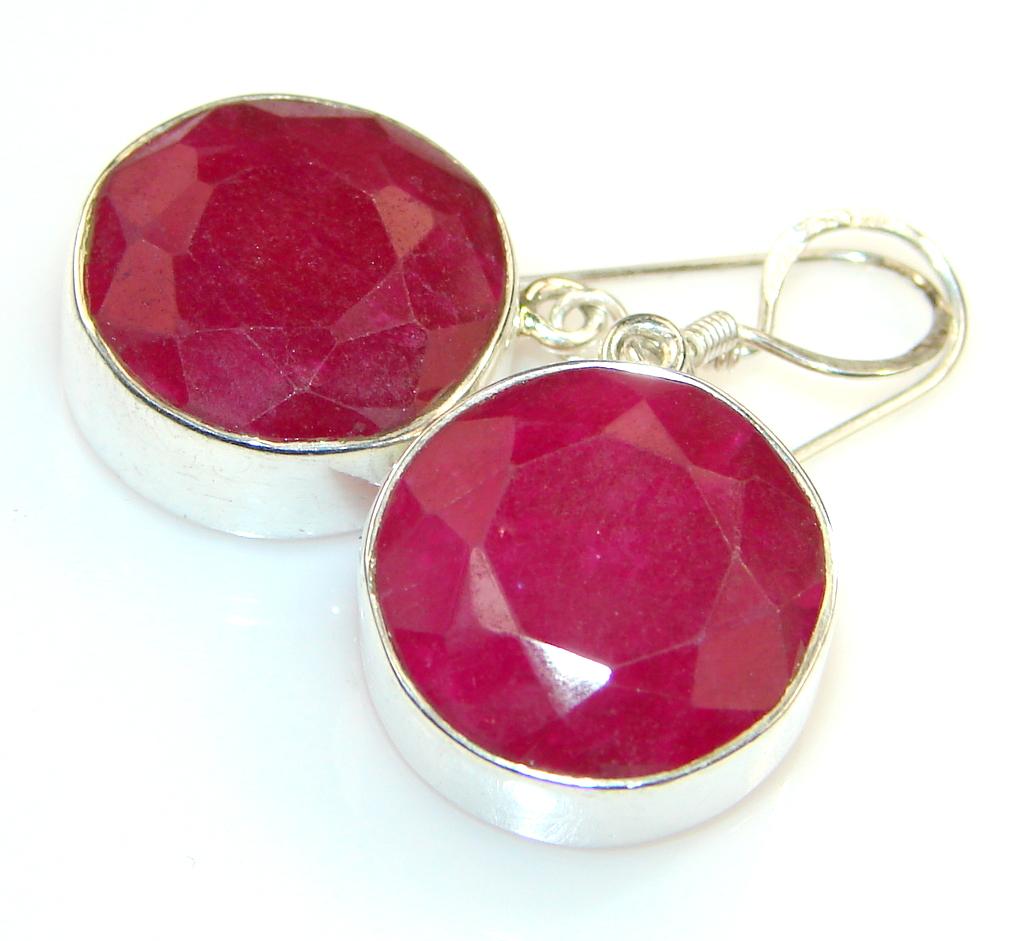 Energetic Kashmire Beauty Ruby Sterling Silver earrings