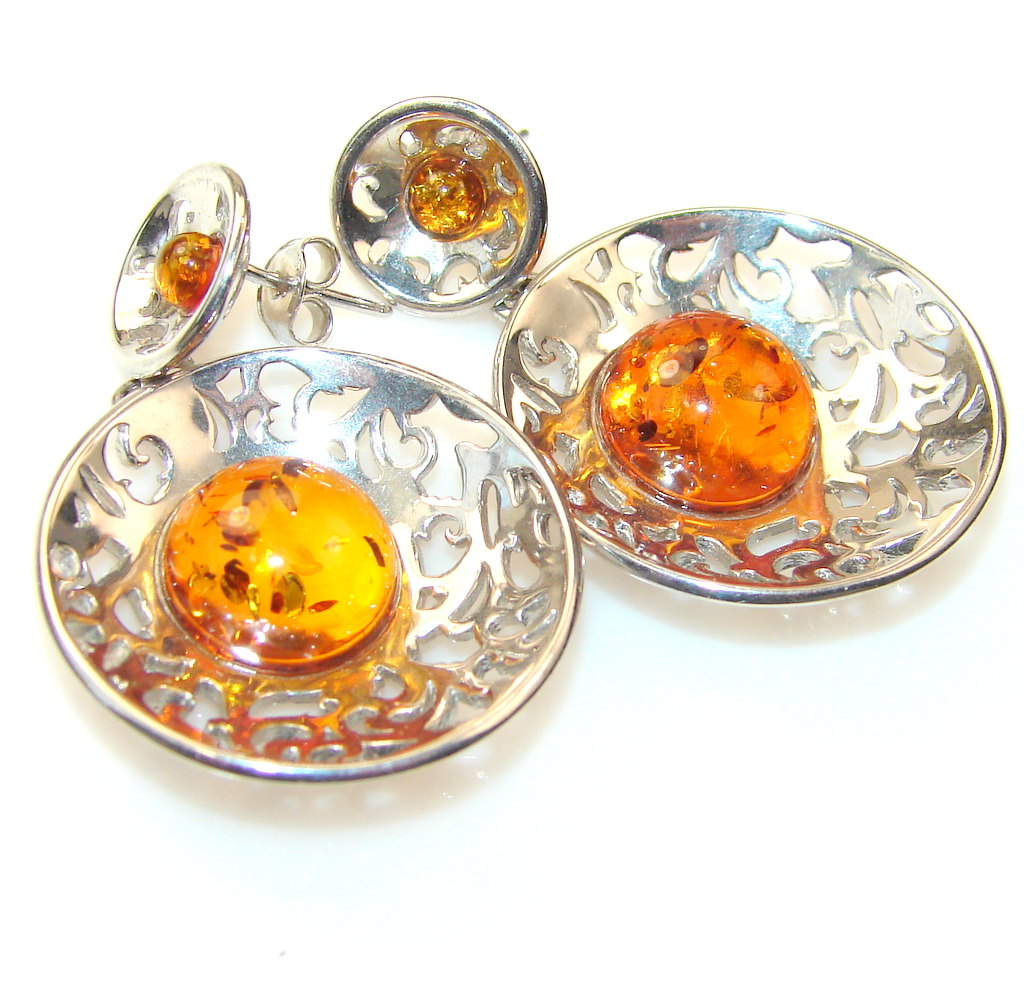 Incredible Polish Amber Sterling Silver earrings