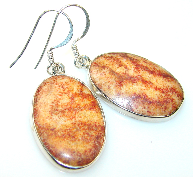 Bac To Basics Fossilized Coral Sterling Silver earrings