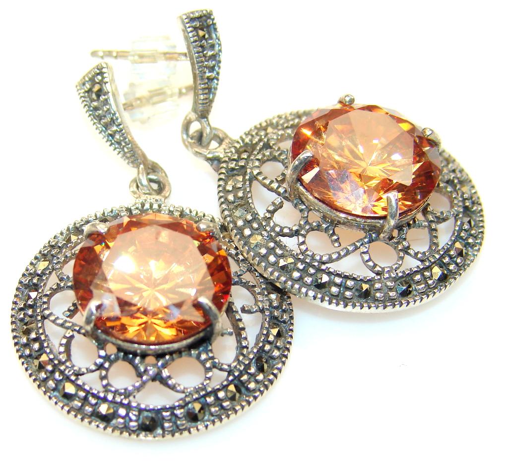 Great Golden Quartz Sterling Silver earrings