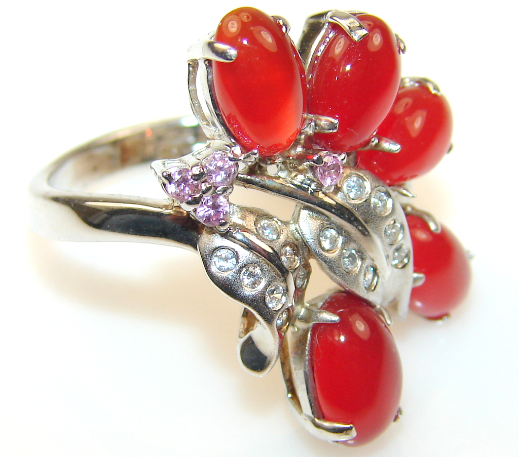 Passion Agate Sterling Silver ring s. 7 1/4