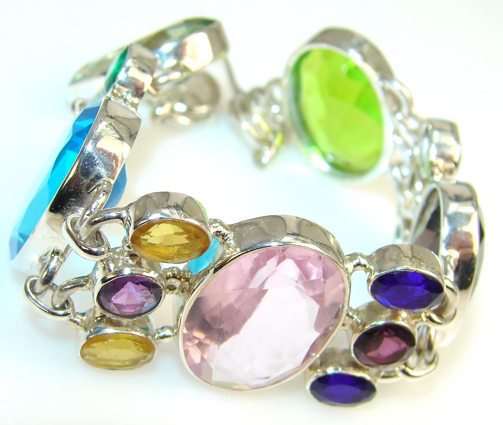 Aura Of Beauty Multicolor Quartz Sterling Silver Bracelet