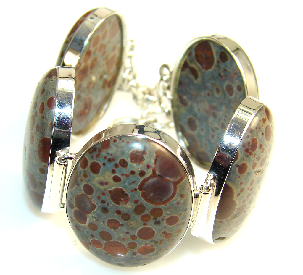 Evening Tide Polka Pot Agate Sterling Silver Bracelet
