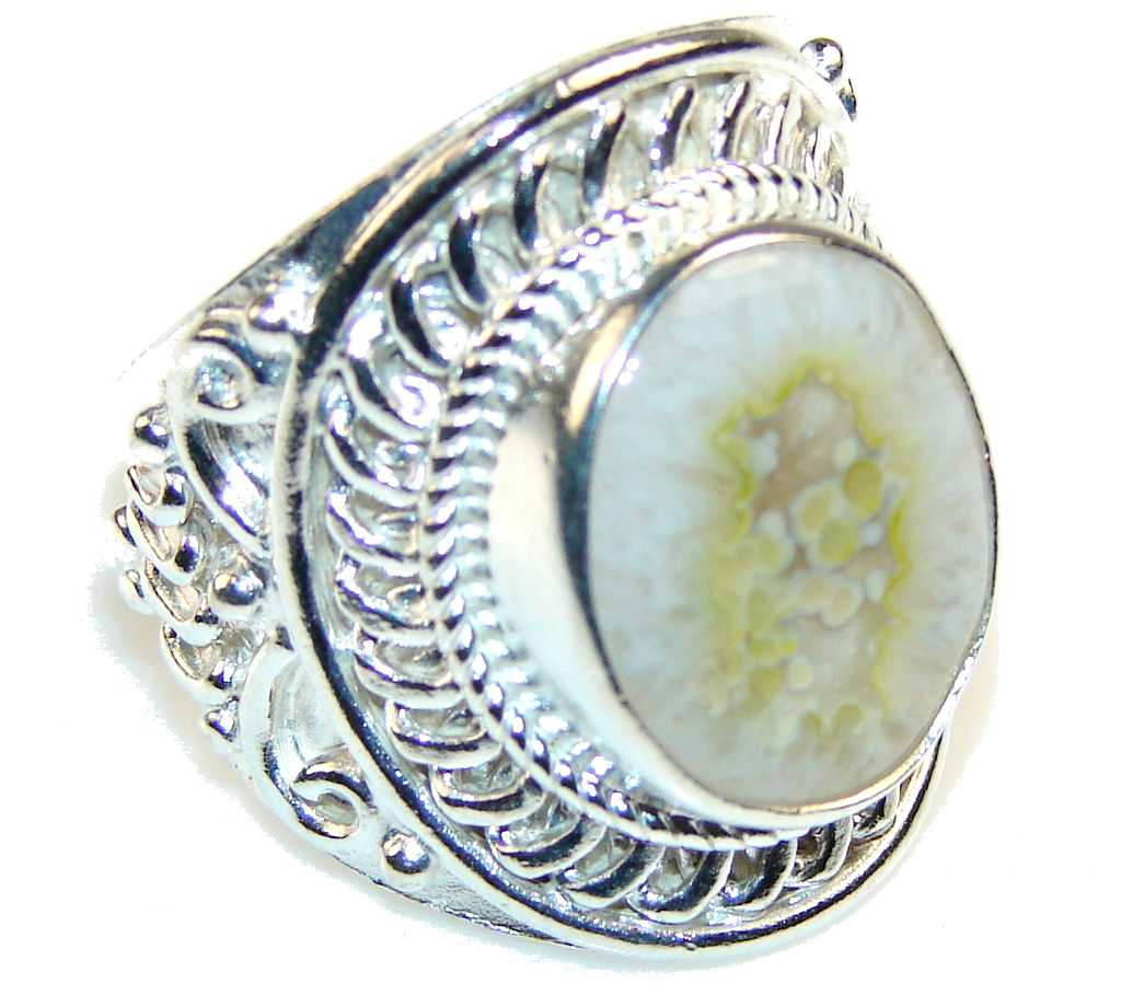 Passion Green Agate Sterling Silver Ring s. 10