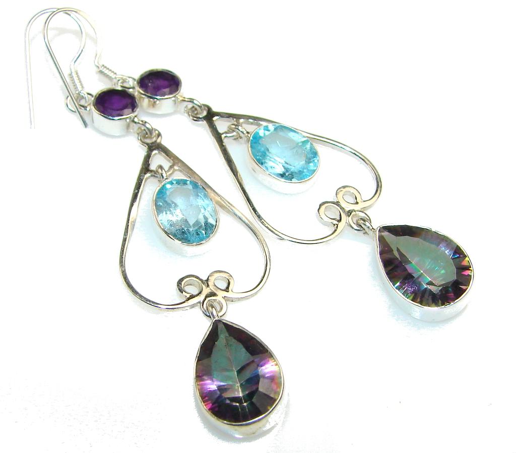 Disco Light!! Magic Topaz Sterling Silver earrings