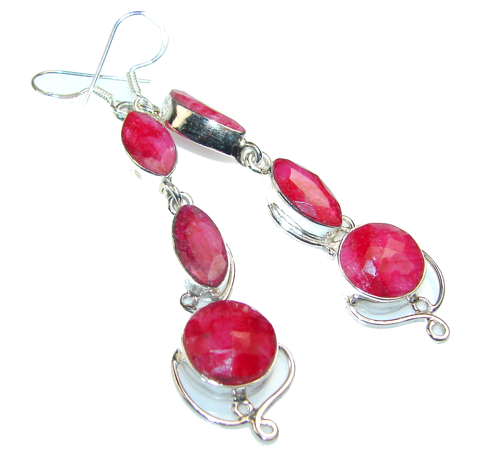 Classy Pink Ruby Sterling Silver earrings / Long