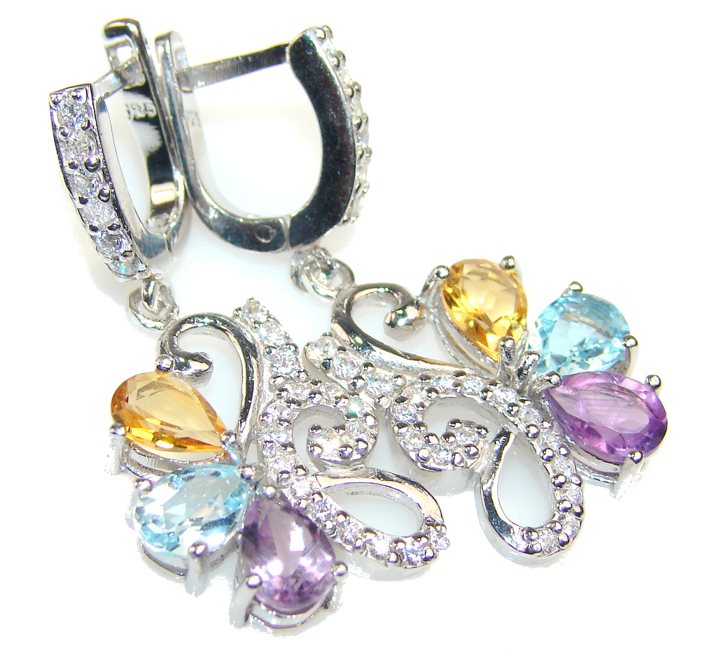 Falling In Love!! White Topaz Sterling Silver earrings