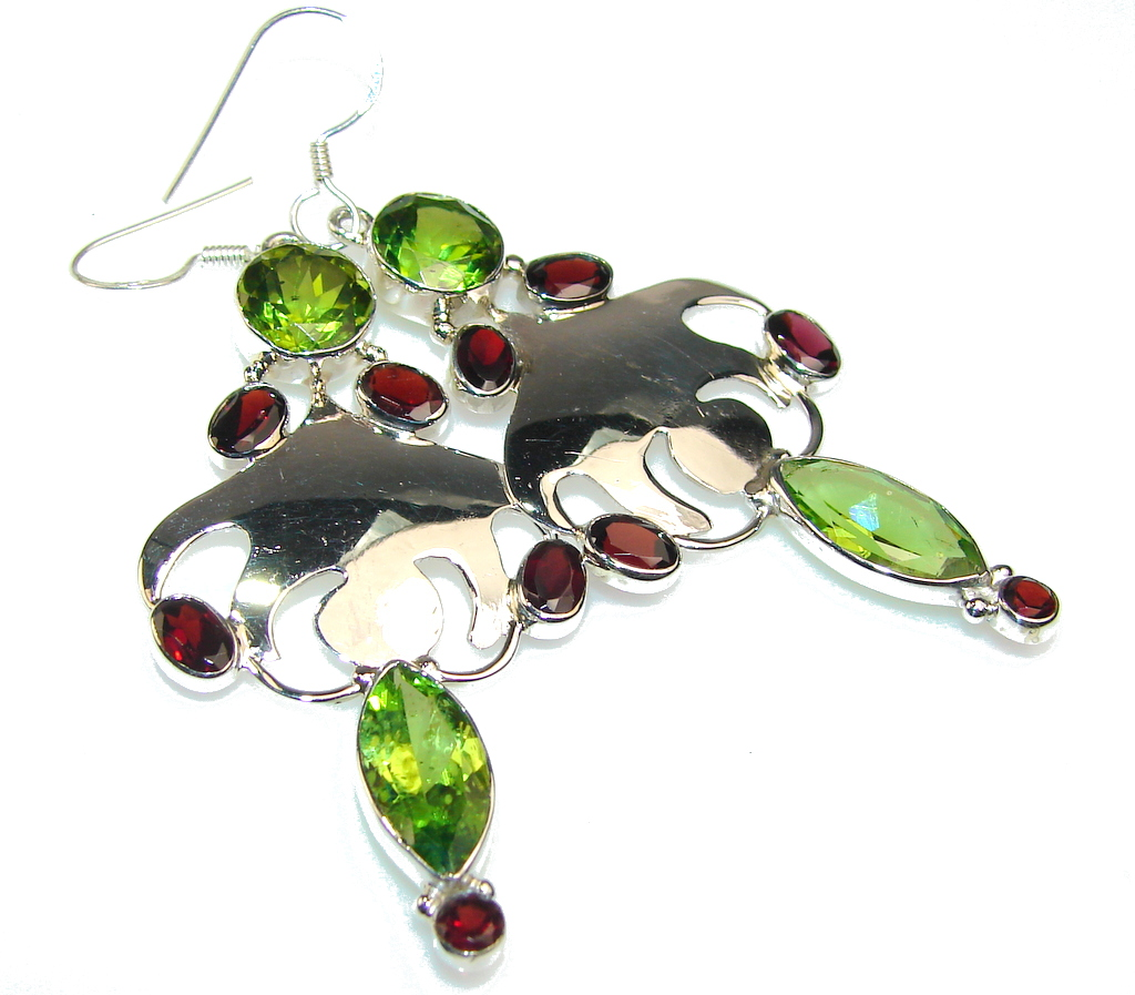 Classy Green Quartz Sterling Silver Earrings