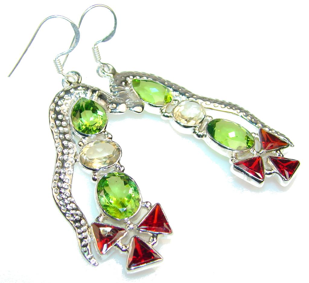 Impression Green Quartz Sterling Silver Earrings