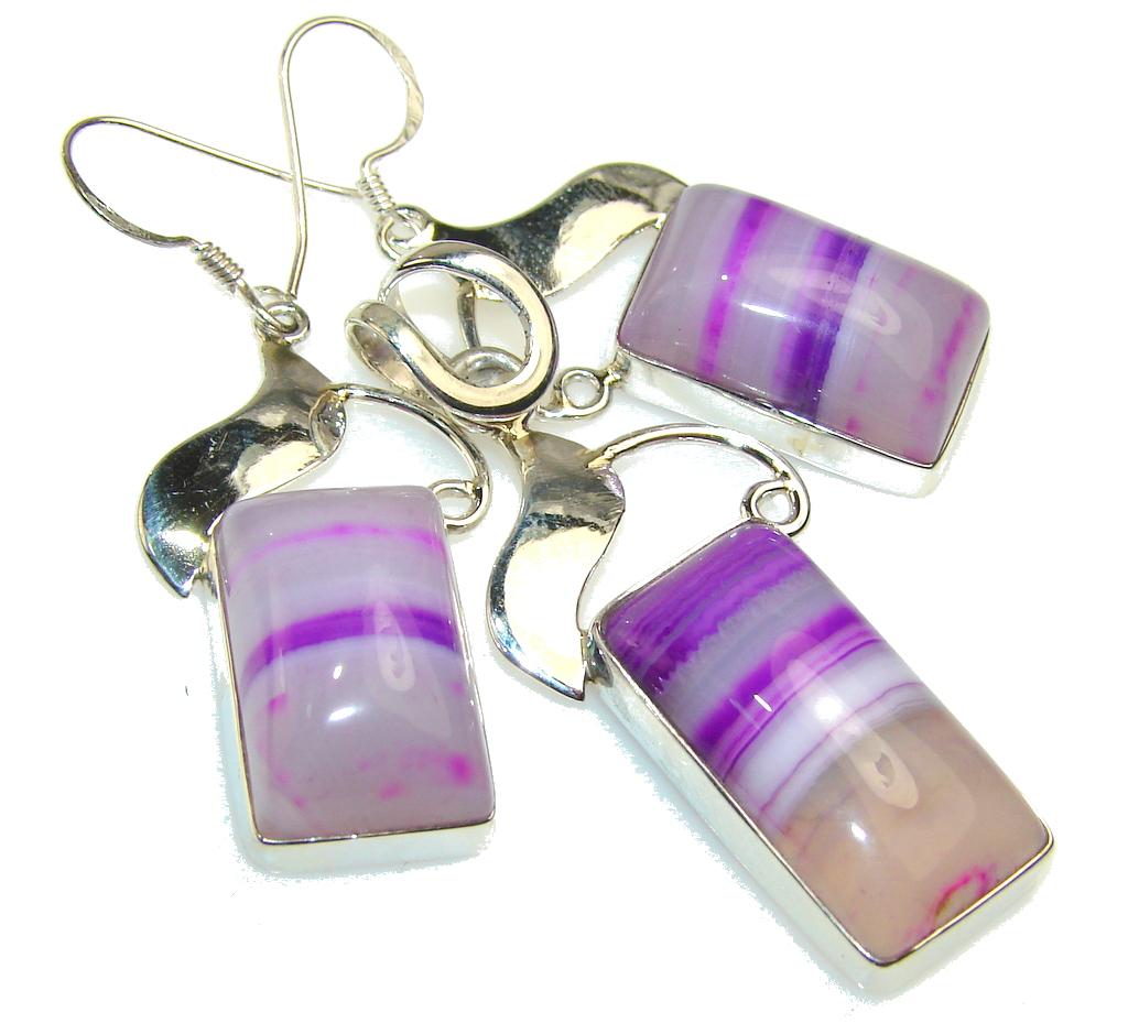 Lavender Field Botswana Agate Sterling Silver earrings / Set