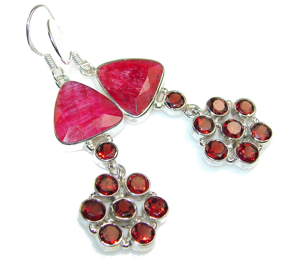 Exotic Red Garnet Sterling Silver earrings