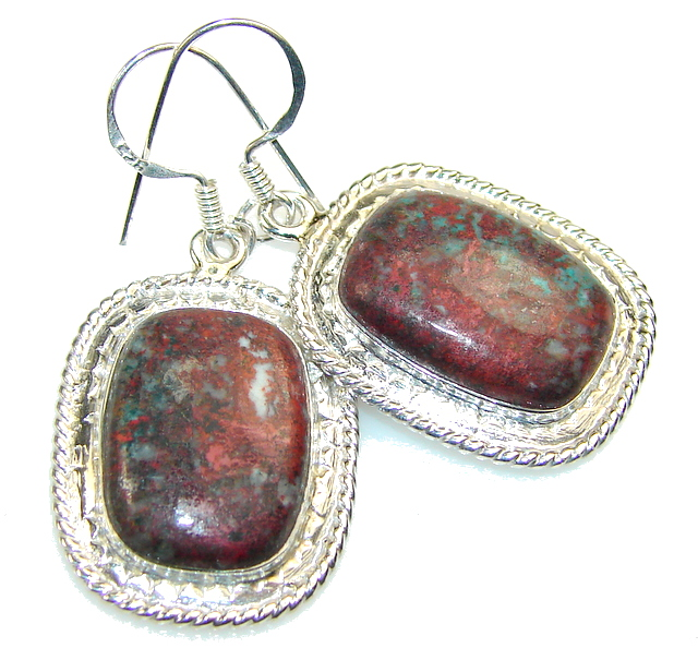 Classy Red Sonora Jasper Sterling Silver earrings