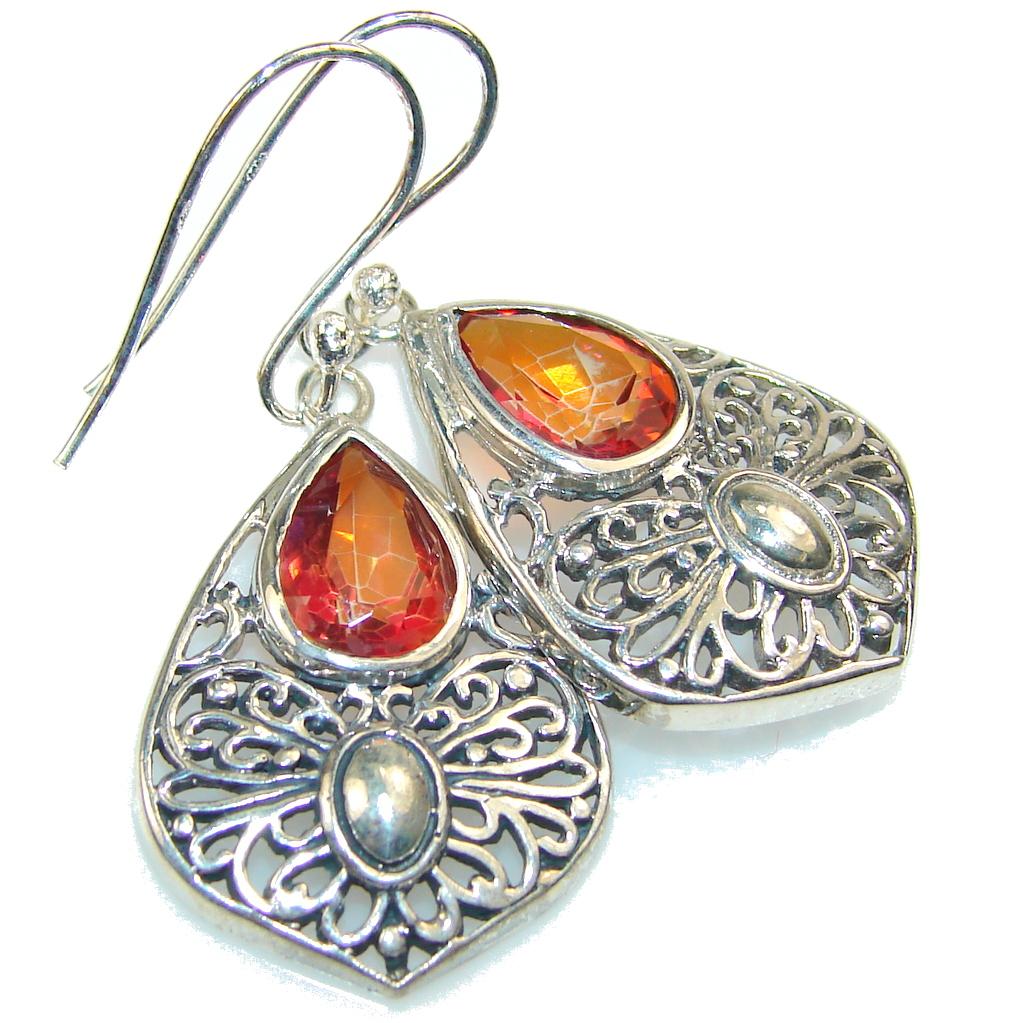 Falling In Love!! Red Quartz Sterling Silver Earrings