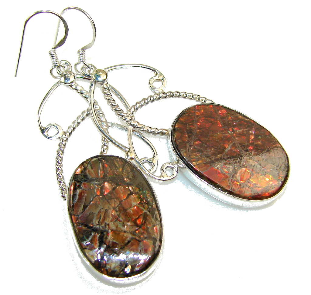Gorgeous Red Ammolite Sterling Silver earrings