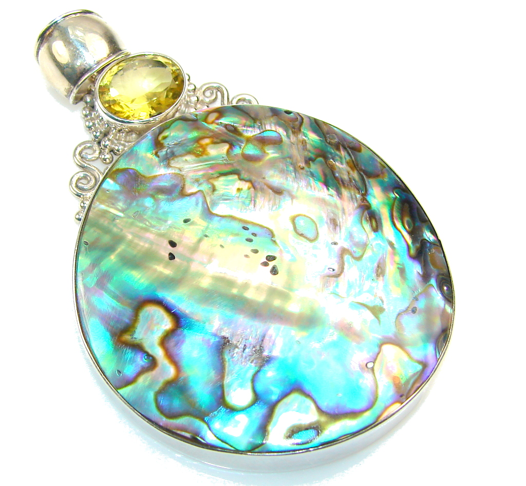 Natural Rainbow Abalone Sterling Silver Pendant